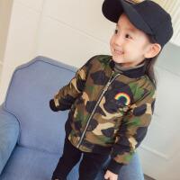 17新款儿童装女童男童宝宝加厚外套薄款棉衣夹克装1-2-3岁4 军绿色 迷彩服外套