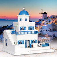 创意diy小屋浪漫圣托里尼岛生日礼物创意女生拼装模型手工小屋