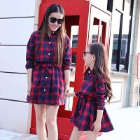子装秋装2018新款母女装长袖连衣裙韩版格子衬衫女童裙子春秋季 红色 格子