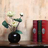中式禅意荷花莲花仿真花艺套装佛堂前供奉假花瓶摆件客厅干花装饰Q 白色 中号荷花花+瓶