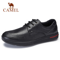 camel骆驼男鞋 秋季新品中青年休闲系带皮鞋时尚商务防滑牛皮鞋