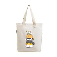 帆布包女包单肩包 韩版学生手提包森系文艺卡通 可爱小猫咪布包