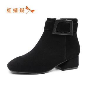 红蜻蜓女鞋2017秋冬新品时尚方头舒适中跟方跟纯色方扣装饰短靴