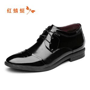 红蜻蜓男鞋2017秋冬新款男士皮鞋商务正装加绒棉鞋真皮系带鞋正品