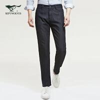 七匹狼裤子男牛仔裤男士2020春季新款男士宽松黑色加绒男裤潮长裤
