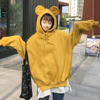 秋冬韩版加绒加厚中长款假两件可爱熊耳朵卫衣宽松学生连帽外套女