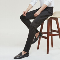 七匹狼无褶休闲裤男春秋款商务男士西装裤修身男裤潮流黑西裤裤子