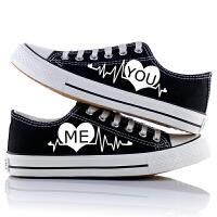 春秋黑色低帮帆布鞋涂鸦男鞋时尚潮板鞋男女透气情侣手绘夜光学生鞋子