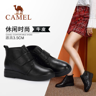 Camel/骆驼2018冬季新款 简约质感气质舒适短筒耐磨防滑女靴