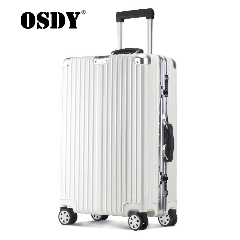 【可礼品卡支付】OSDY新款拉杆高端商务铝框箱海关锁万向轮旅行箱20寸登机箱8174新款来袭,下单送好礼!