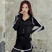 【女神新装】Kombucha女士速干透气连帽抽绳运动健身跑步拉链开衫外套RE5120WT