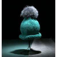 男女帽 保暖帽 毛钱帽MA-14 情侣火鸡毛球卷边针织帽毛线帽