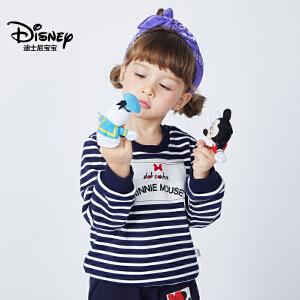 迪士尼宝宝重返学院女童不倒绒针织卫衣2018冬款上新