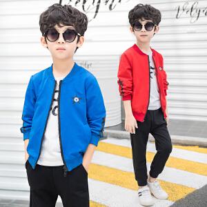 童装2018秋季新款男童五角星套装儿童拉链长袖+长裤两件套