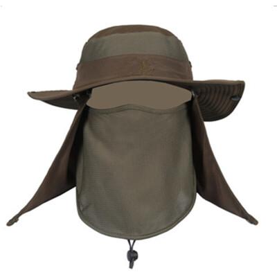 夏季帽子男士户外防晒遮阳帽迷彩渔夫帽大檐太阳帽防蚊虫钓鱼帽男  大小可调节