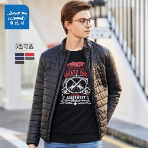 [超级大牌日每满299-150]真维斯棉衣男2018冬装新款男士修身爸爸外套纯色上衣潮