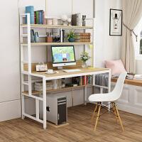 简约现代电脑桌台式家用书桌带书架双人简易学生写字台