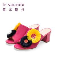 【顺丰包邮,大牌价:349】莱尔斯丹 春夏专柜款露趾时尚高跟粗跟女拖鞋 9M41322