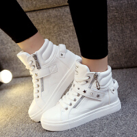 女士松糕鞋高帮鞋韩版休闲鞋跟厚底学生鞋板鞋女单鞋