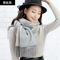 冬季围巾女长款加厚仿羊绒围脖韩版学生可爱乒乓双面时尚披肩