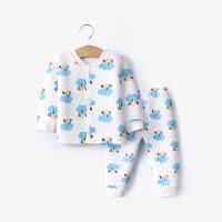 婴儿秋冬装夹棉套装保暖男宝宝3内衣1岁0儿童3纯棉加厚睡衣秋衣裤 白色 2007008