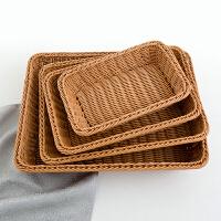 韩式仿柳编收纳筐零食框面包水果篮子藤编长方形桌面竹篮塑料编织