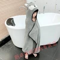 儿童浴巾斗篷婴儿浴巾带帽斗篷比纱吸水女男孩宝宝 狐狸灰色 适合1.3米以下
