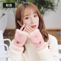 手套女冬季时尚韩版加绒双层保暖毛绒手套甜美学生潮半指翻盖手套