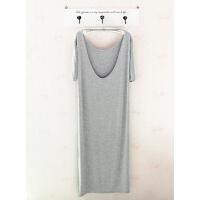 睡裙女夏棉性感睡衣女夏季短袖大码宽松纯色露背长款家居服