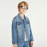 【2件4折价:159.6】安奈儿童装男童牛仔外套2021新款中大童上衣洋气男孩夹克春秋潮牌
