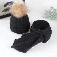 帽子围巾套装女秋天羊绒针织帽子貉子毛球毛线帽子保暖帽 黑色帽子+围巾 (50-54cm)