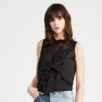 DAZZLE地素 2019夏装新款打结设计感针织拼接短款衬衫女2G2D2301A