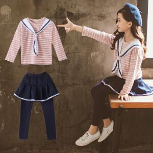 童装2018秋季新款女童海军风套装儿童长袖T恤+裙裤女孩两件套