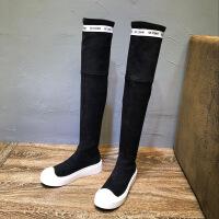 欧洲站女鞋2018秋冬新款松糕厚底休闲过膝长靴马丁靴高筒女靴子潮