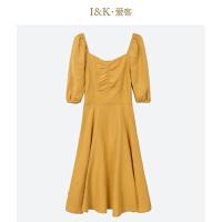 【3折到手价:120元】爱客纯色气质长裙2019夏 森系灯笼袖低领小众连衣裙女