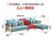 20190402230052383地中海沙发组合客厅实木美式田园风格小户型整装家具蓝色布艺沙发 其他