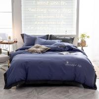 棉刺绣四件套北欧风床上用品纯棉被套床单三件套床品套件