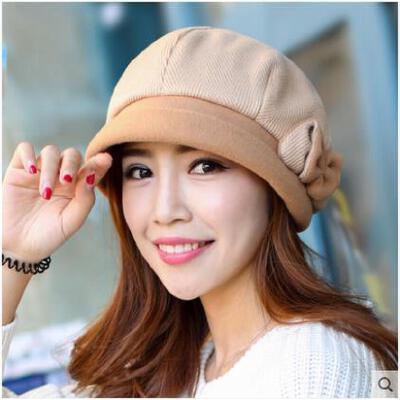 秋冬天盆帽子女新款韩版优雅羊毛呢帽贝雷帽保暖渔夫帽圆顶礼帽