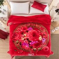 君别粉色花朵冬季超柔保暖加厚双层-斤大红毛毯 200cmx230cm
