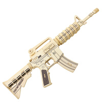 创意玩具若态科技儿童益智3D木制拼装模型左轮手枪突击步枪AK47