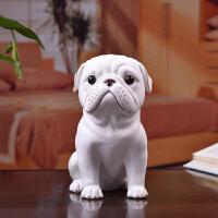 狗年吉祥物创意陶瓷生肖动物仿真八哥犬家居客厅装饰工艺礼品摆件