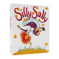 傻傻的莎莉 纸板书 英文原版 Silly Sally 倒着走的女孩 廖彩杏书单 韵文与歌谣 Audrey Wood奥德莉