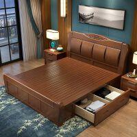 新中式实木床主卧现代简约1.8米双人1.5m床婚床高箱储物床 +床头柜*2+床垫