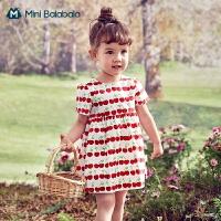 迷你巴拉巴拉女童连衣裙子2021夏新款婴儿宝宝网红洋气碎花公主裙