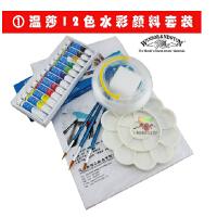 能畅组合温莎牛顿水彩套装 12 18 24色水彩颜料 水彩画笔 伸缩水桶