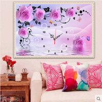 钟表十字绣 钟表钻石画满钻客厅贴钻钻石绣紫色玫瑰花挂钟系列墙壁挂饰