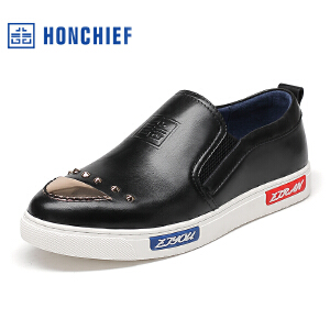 HONCHIEF 红蜻蜓旗下 春秋新品韩版套脚懒人潮鞋舒适男士真皮板鞋