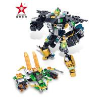 星钻拼装汽车人变形机器人玩具儿童积木梦想三国传奇英雄精诚的心