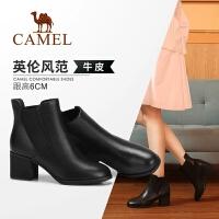 骆驼女鞋2018冬季新款短靴 时尚韩版百搭真皮靴子女英伦风女靴