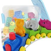 大号火车头积木 拼搭积木卡通塑料拼插积木 儿童益智力玩具